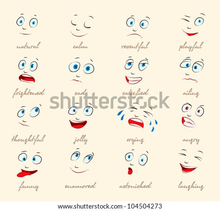 Emotions. Cartoon facial expressions set. ( natural, calm, resentful, playful, frightened, sad, satisfied, ailing, thoughtful, jolly, crying, angry, funny, enamored, astonished, laughing ) vector - stock vector