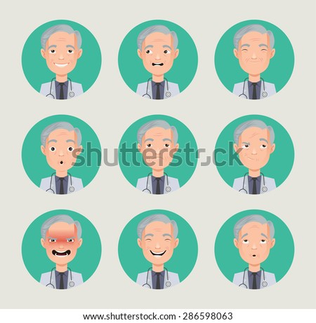 emotions doctor faces vector characters - stock vector