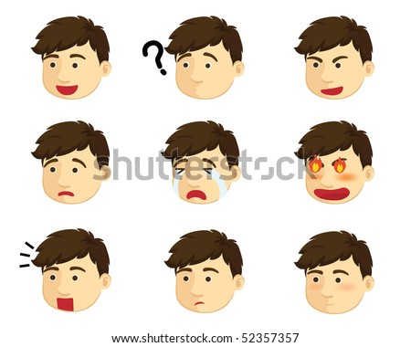 emotions on face of a boy character - stock vector
