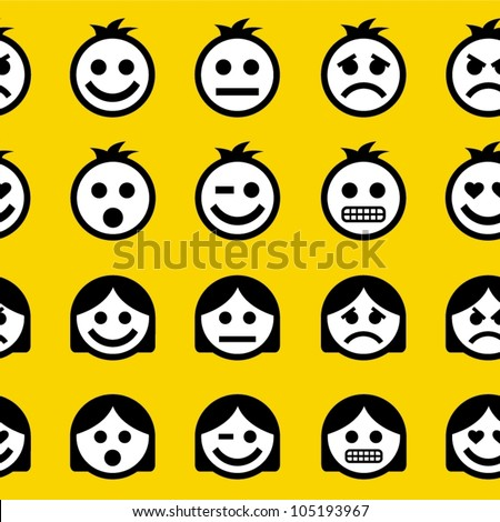 Emotions. Seamless pattern. - stock vector