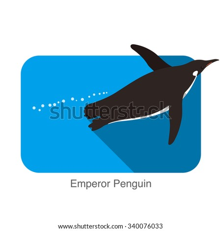 Emperor Penguin swimming in the water, Penguin seed series - stock vector