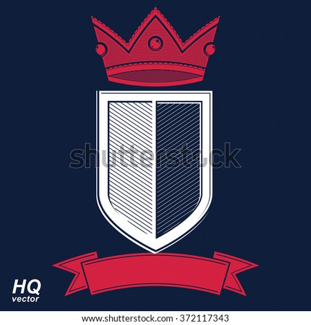 Empire design element. Heraldic royal coronet illustration, imperial decorative coat of arms. Luxury vector shield with king red crown and undulate festive ribbon.  - stock vector