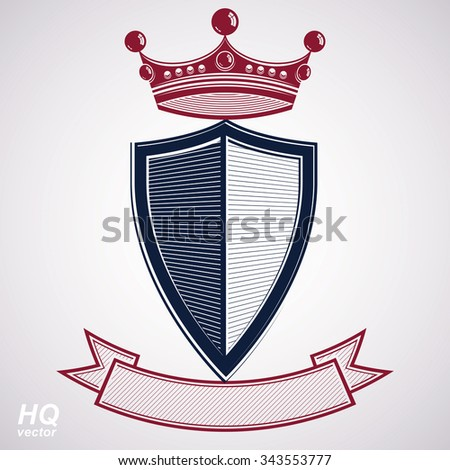 Empire design element. Heraldic royal coronet illustration, imperial striped decorative coat of arms. Luxury vector heraldry shield with king red crown and undulate festive ribbon. - stock vector