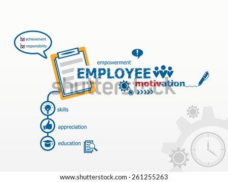 Employee motivation concept and notebook for efficiency, creativity, intelligence. Hand writing Employee motivation with blue marker. - stock vector