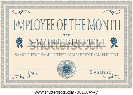 EMPLOYEE OF THE MONTH certificate illustration vector - stock vector