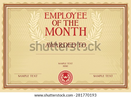 employee of the month - certificate template - stock vector