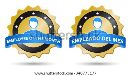 employee of the month, english spanish text - stock vector