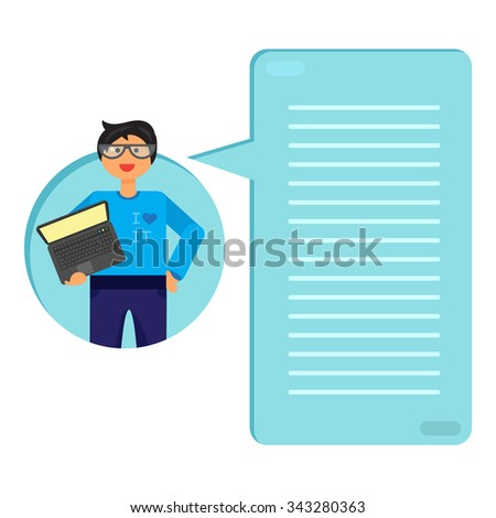 Employee with notebook. Programmer or admin with PC. Thinking list. Template or blank with job concept. Vector - stock vector