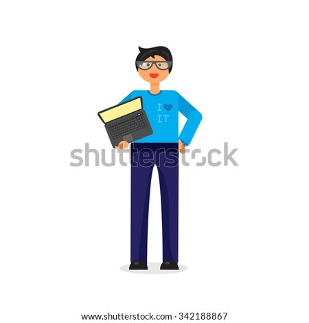 Employee with notebook. Programmer or admin with PC. Vector - stock vector