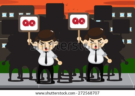 Employees protests in city background. - stock vector