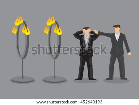 Employer demand stressed employee to go through fire rings. Vector cartoon illustration on unreasonable boss and impossible mission concept.  - stock vector