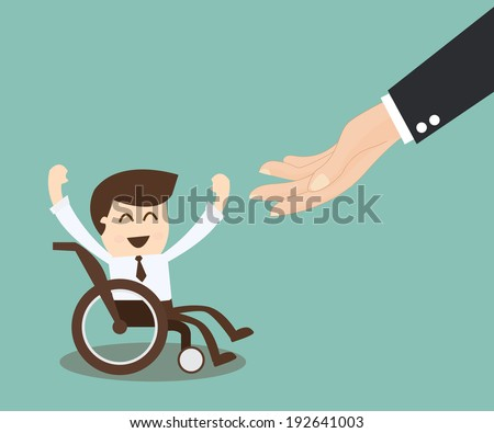 Employment Opportunity for the Disabled - businessman in wheelchair - stock vector