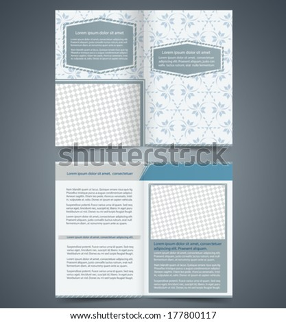 Empty bi-fold  brochure template design with pattern, business leaflet, booklet - stock vector