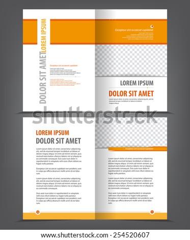 Empty bifold brochure print template orange design, vector background - stock vector