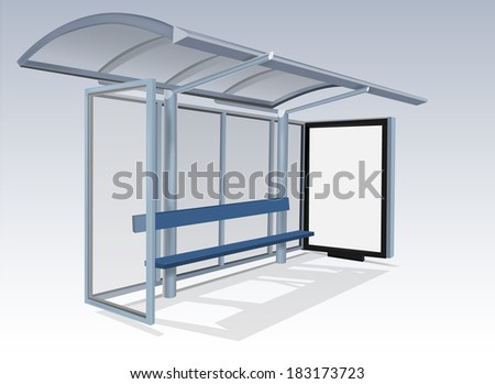 Empty billboard at a bus stop - stock vector