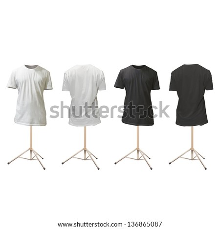 Empty black and white shirts design. Realistic vector illustration. - stock vector