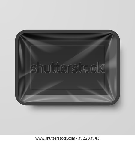 Empty Black Plastic Food Container on Gray - stock vector