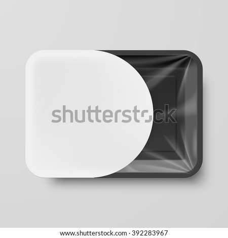 Empty Black Plastic Food Container with White Label on Gray - stock vector
