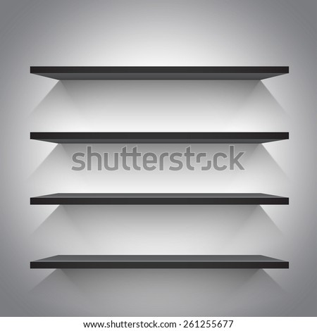 Empty black shelves on light grey background. Vector illustration - stock vector