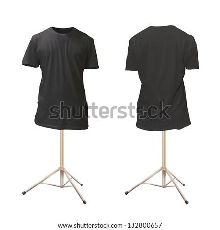 Empty black shirt design. Realistic vector illustration. - stock vector