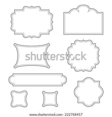 Empty blank vintage frame, set, romantic old style calligraphic design elements, outlined, detailed, black isolated on white background, vector illustration. - stock vector