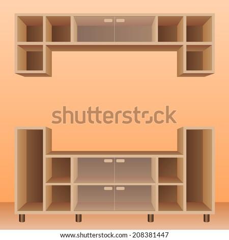 Empty Brown shelf furniture for living room - stock vector