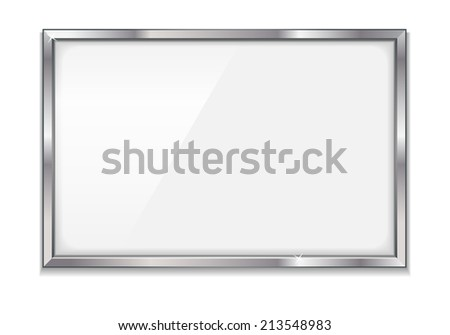 Empty bulletin board with metal frame, eps10 illustration make opacity masks on glass and shadow - stock vector