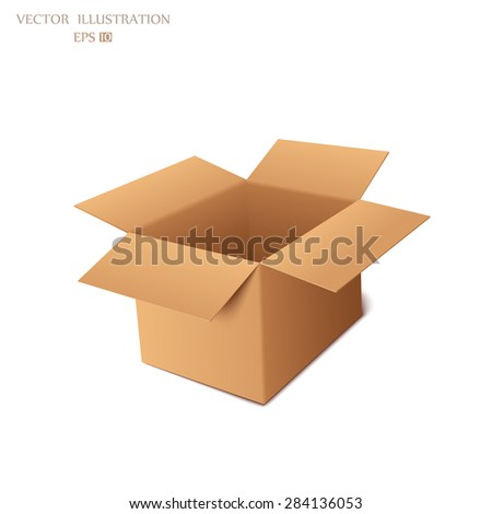 Empty cardboard box opened isolated on transparent white background . Vector illustration - stock vector