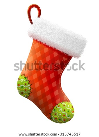 Empty christmas stocking isolated on white. Decorative red sock with white fur and patches. Vector illustration for christmas, new year, decoration, winter holiday, silvester, tradition, etc - stock vector