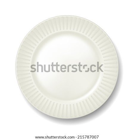 Empty classic white plate on isolated background. View from above. Vector - stock vector