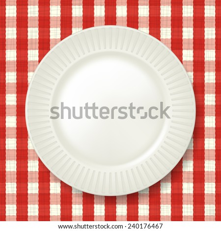 Empty classic white plate with checkered tablecloth on background. Vector - stock vector