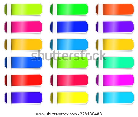 Empty Colorful label paper set. Vector illustration sticker. EPS 10 - stock vector