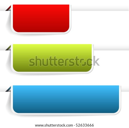 Empty colorful paper tags / bookmarks for eshop items - new, sale, discount, sold out - stock vector