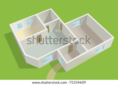 empty country house planning, green lawn vector - stock vector