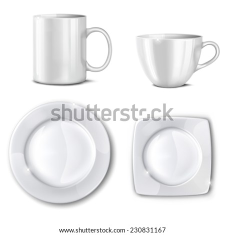 Empty cups and plates on a white background. Mesh.This file contains transparency. - stock vector