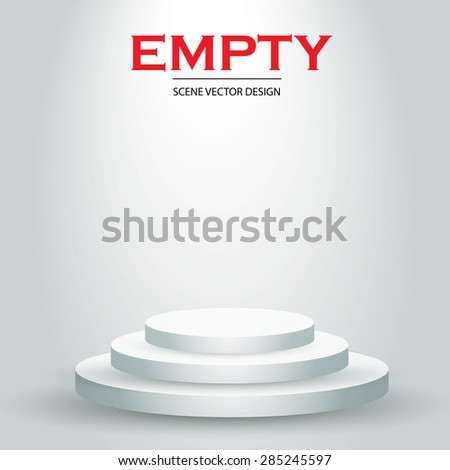 Empty 3D podium. Illuminated scene. Vector illustration - stock vector
