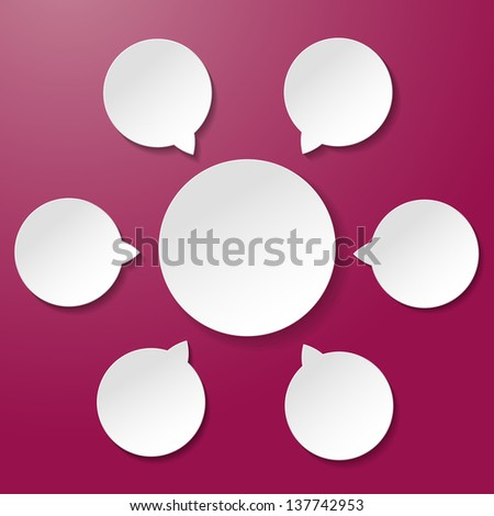 Empty diagram white paper labels on the purple background. - stock vector