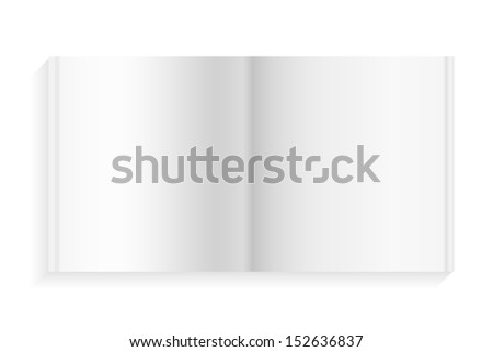 Empty diary book on white background - Vector illustration - stock vector