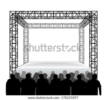 empty festival stage with spectators isolated on white vector illustration - stock vector