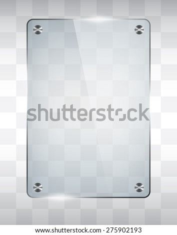 Empty glass frame, transparent vector - stock vector