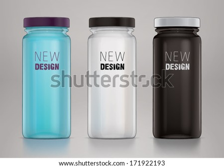 Empty glass jar with cap for new design. Sketch style - stock vector