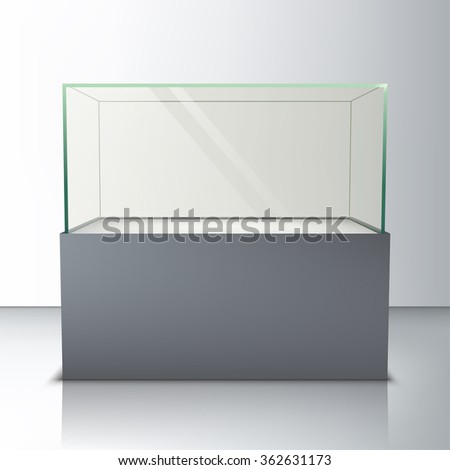 Empty glass showcase for exhibit - stock vector