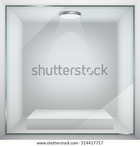 Empty glass showcase for exhibit. Vector illustration. - stock vector