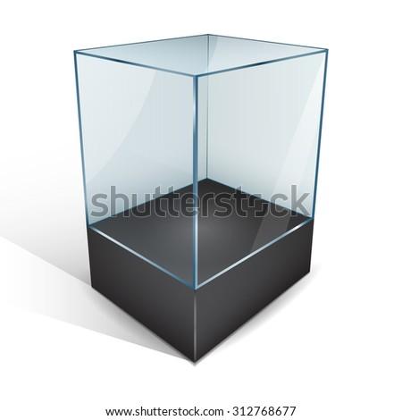 Empty glass showcase. Vector Illustration - stock vector