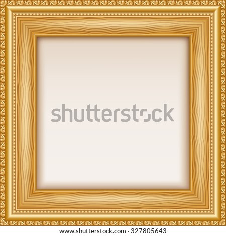 Empty gold frame hanging on the wall. Vector illustration - stock vector