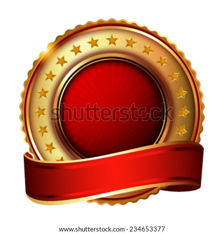 Empty golden label with ribbon. Vector illustration. - stock vector