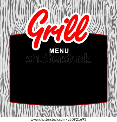 Empty grill menu board  - stock vector