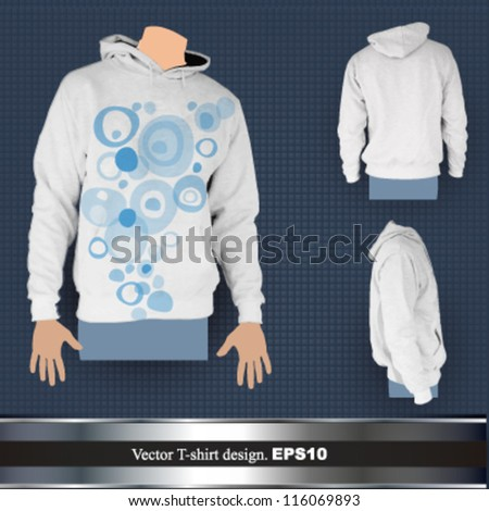 empty hooded sweatshirt design ( front, back and profile). vector illustration - stock vector