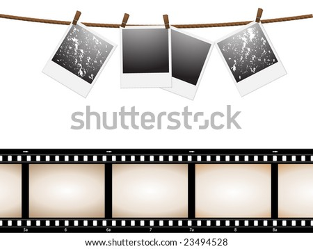 empty instant photo picture and camera film - stock vector