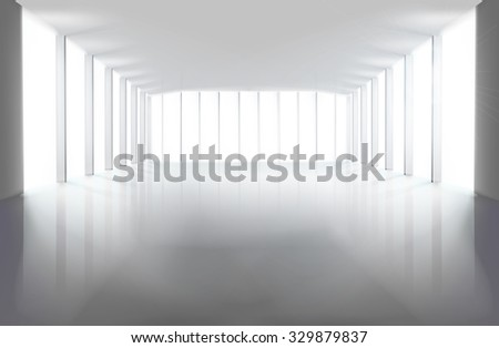 Empty large hall. Vector illustration. - stock vector